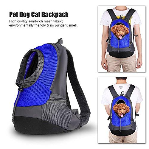 Atmungsaktiv Hohe Qualität Hunderucksack Carrier Hands Backpack Free Pet Doppelter Schulter Rucksack Bag Expandable für Haustiere Outdoor Kleine Hunde Katzen (Blau)