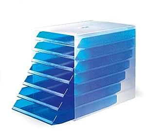 Durable 1712000 Idealox Module de Classement 7 Tiroirs Ouverts Format C4 Bleu Translucide
