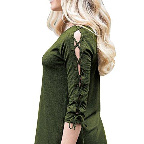 Lover-Beauty - Abito - Camicia  - Maniche a 3/4 - donna Militär grün
