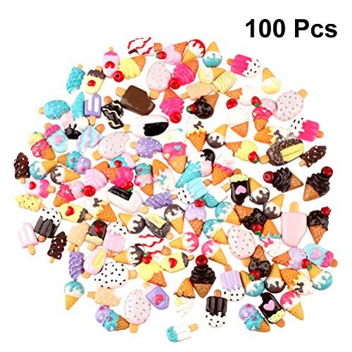 SUPVOX 100 STÜCK Super Nette Schleim Charme Mischharz Flatback Donut Kuchen Eistüte für Sammelalbum Handwerk