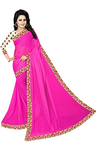 Vrati Fashion Women's Pink Colour Laycra Saree With Unstiched Blouse Material