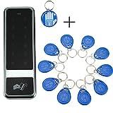 OBO HANDS RFID Touch Metall Zugangskontrolle Tastatur Elektronische Türschloss Access Control System Wasserdicht C50 Silber + 10Schlüsselanhänger + 1 manuelle