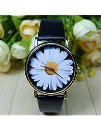 1d4270357d83 fenkoo margaritas blanca floral Reloj Vintage estilo de piel passen Mujeres  Relojes Unisex de reloj Boyfriend