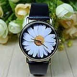 FENKOO weißes Gänseblümchen floral Uhr Vintage-Stil Leder passen Frauen UHREN Unisex-Uhr boyfriend Uhr freeforme