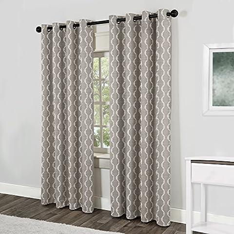 Exclusive Home Curtains Baroque Textured Linen Look Jacquard Grommet Top