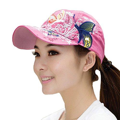 Gorra con visera de mujer con diseño de mariposas, de la marca HugeStore rosa Rosa