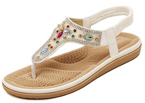 Fortuning's JDS infradito sandali piatti nuova tendenza etnico T-Strap per le signore Bianco