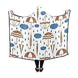 Yushg Coperta con Cappuccio Ombrelli Nuvole Gocce di Pioggia Coperta 60x50 Pollici Comodo da Avvolgere con Cappuccio