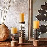 XQY Retro Candlestick Dekoration Kerzenhalter Eisen und Holz Material Romantische Mode Haushaltsgegenstände DREI Größen,9 * 16cm