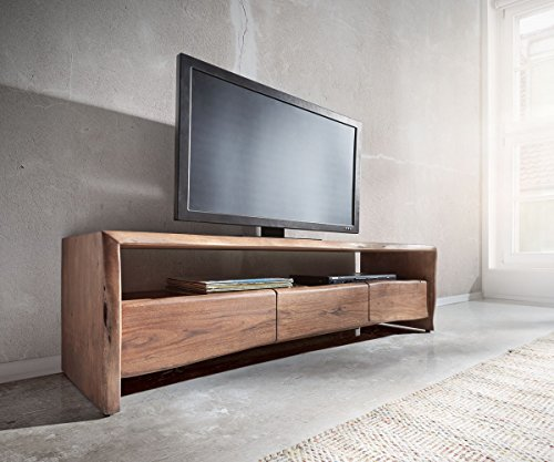 DELIFE Fernsehtisch Live-Edge Akazie Braun 145 cm Ablagefach offen Baumkante Lowboard