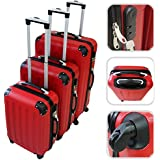 Set of 3 red trolley suitcases – Rigid trolley suitcases with safety system