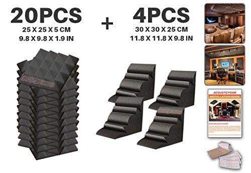 ACE Perforazione 20Pack-Confezione da 4Bass Trap 2colori Acoustic Foam pannello Piastrelle da parete design studio isolamento acustico Isolamento acustico, con linguette per il montaggio 25x 25x 5cm ap1034AP1036, Black Pyramid and Black Bass Trap, 25 x 25 x 5 cm