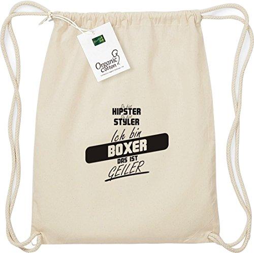 Shirtstown Organic Gymsac du bist hipster du bist styler ich bin Boxer das ist geiler natur