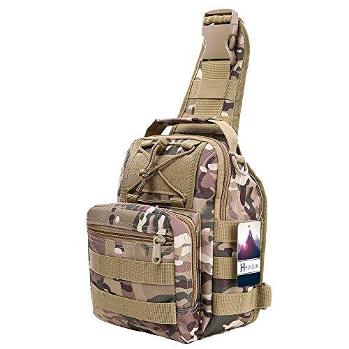 Imagen de hukoer bolsa deportiva de hombro  táctica para hombro al aire libre, bandolera bolso crossbody de nylon multiusos deporte, acampada camping , excursionismo, senderismo trekking acu