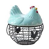 MLQ Cestino per Uova con Filo Metallico, con Top e Maniglie di Pollo in Ceramica Bianca in Ceramica, Cestino per Uova con Design di Pollo, Strumento di conservazione Multiuso per Frutta e Verdura