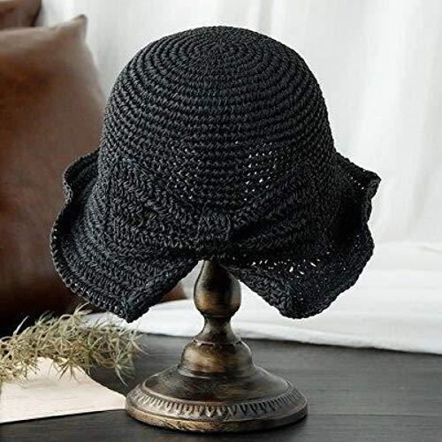 Fxhang Eltern-Kind 100% Bast Bogen Sonnenhut breiter Krempe Floppy Sommer Hüte für Frauen Strand Panama Stroh Dome Eimer Hut Femme Schatten Hut,Schwarz,Adult 56-58CM