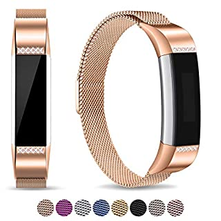Mornex Strap Compatible Fitbit Alta/Alta HR Metal Bands, Milanese Stainless Steel Adjustable Replacement Accessory Straps Fitness Wristband, Rose Gold Diamond