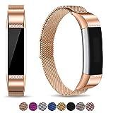 Mornex Bracelet Compatible Fitbit Alta Fitbit Alta HR, Bracelet en Acier Inoxydable Milanaise Remplacment Réglable Fermoir Magnétique