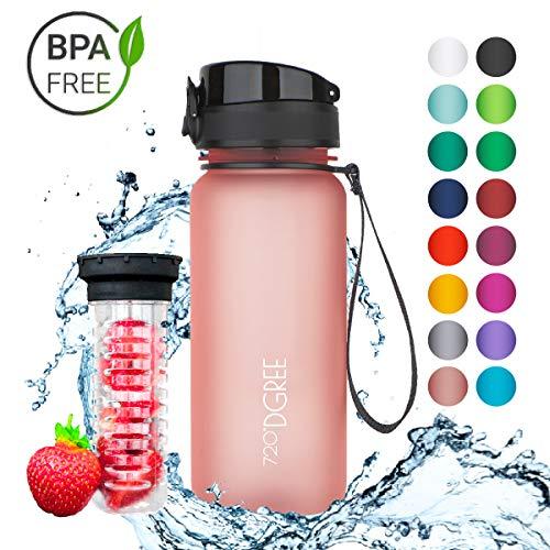 """720°DGREE Trinkflasche \""""uberBottle\"""" - 650 ml, 0,65 l, Rosa - Neuartige Tritan Wasser-Flasche - Water Bottle BPA Frei - Ideale Sportflasche für Kinder, Fitness, Fahrrad, Sport, Fussball"""