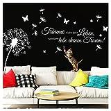 Wandaro Wandtattoo Pusteblume Träume Nicht Dein Leben I weiß (BxH) 170 x 116 cm I Spruch Wohnzimmer Aufkleber Wandaufkleber Wandsticker Zitat W3427