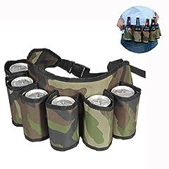 Idea Regalo - Cisixin Cintura Porta Birre Bevande con 6 Posti Cartucciera per Lattine Bottiglie