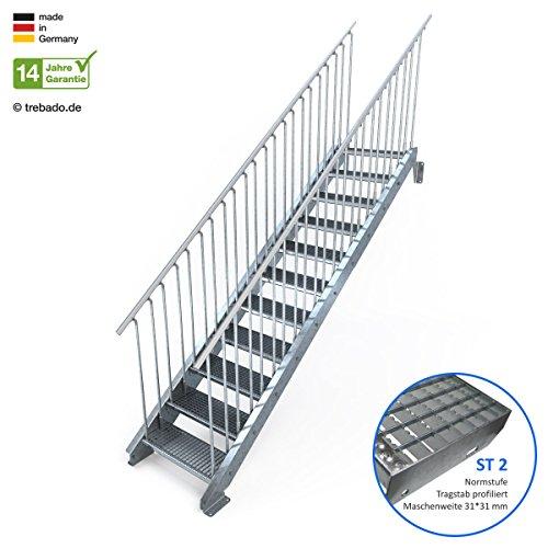 Außentreppe 11 Stufen 70 cm Laufbreite - beidseitiges Geländer - Anstellhöhe variabel von 183 cm bis 220 cm - Gitterroststufe ST2 - feuerverzinkte Stahltreppe mit 700 mm Stufenlänge als montagefertiger Bausatz