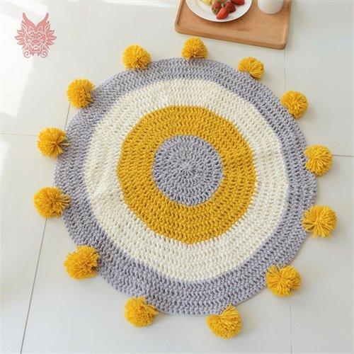 KOOCO Modern Blau Gelb Kreis Stricken Fake Cashmere runde Teppiche für zu Hause lebende'S Zimmer Kinder Teppiche Kugeln Tapis Chamb Sp 4331, Gelb pro Pic, D 80 cm