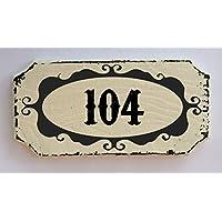 TARGA INSEGNA LEGNO PERSONALIZZABILE VINTAGE SHABBY NUMERO 14X7 REGALO CIVICO