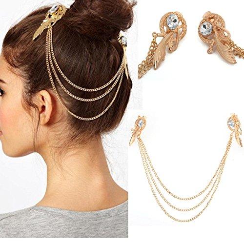Boolavard ® - Porte-femmes Punk Chic cristal cheveux manchette Pin Head Band de Clip glands franges