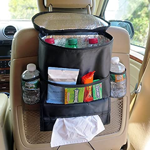 Evelots Organizador de asiento de coche enfriador, multipocket aislante viaje bolsa de almacenamiento, negro