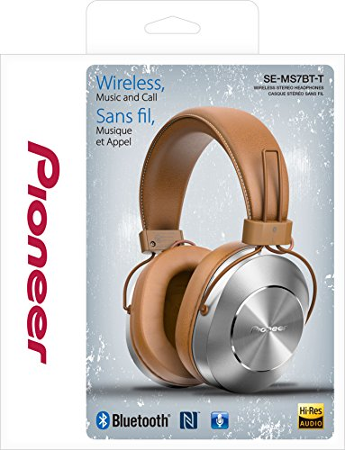 Pioneer SE-MS7BT-T - Auriculares de Tipo Diadema (Bluetooth, Hires, Power Bass, NFC), Color marrón