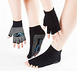 Black Color Imported and high Quality Cotton Non-slip Yoga Toe Socks and Gloves Set