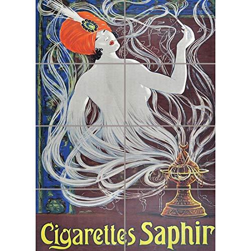 Doppelganger33 LTD Advert Cigarettes Saphir Smoking Turban Nouveau Wand Kunst Multi Panel Poster drucken 33x47 Zoll -