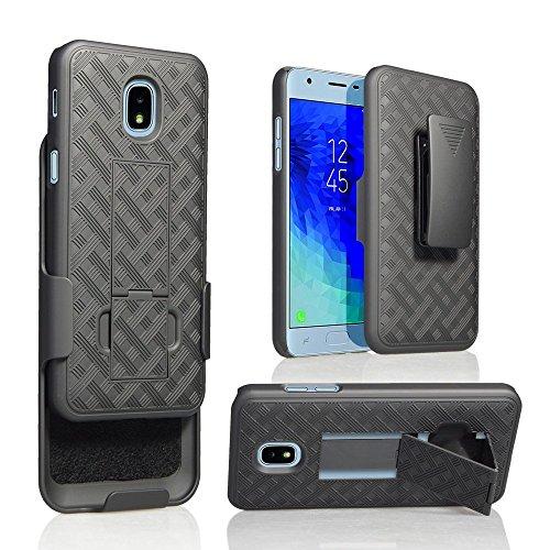 Schutzhülle für Samsung Galaxy J3 2018, J3V J3 V 3. Gen, Express Prime 3, J3 Star, J3 Achieve, Amp Prime 3 Case - Slim Fit Shell Combo mit gummiertem Griff (glattes schwarz) - Dual-sim-handy Att