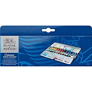Winsor & Newton Metall-Aquarellkasten mit 24 Cotman Aquarellfarben