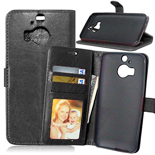 HTC M9 Plus Hülle, HTC One M9 Plus Hülle Lifetrut®[ schwarz ] Schutzhülle Flip PU Ledertasche Ständer Schutzhülle Tasche Hülle Case Cover mit Kreditkartensteckplätze für HTC One M9 Plus