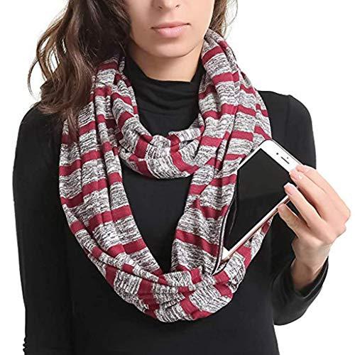 Beisoug Migliore Regalo di San Valentino Donne Inverno Solido Convertibile  Sciarpa Infinity Pocket Loop Zipper Pocket 950293d7950