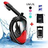 Vaporcombo 180 Degree FULL FACE Free Breathing Design Snorkel Mask Diving Mask Safety Diving with GoPro Slot (BlackRed, L/XL)