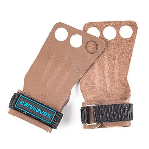 Earwaves ® Rex Grips 2 & 3 Löcher - Leder Crossfit Handschuhe für Damen & Herren. Hand Grips für Gymnastik, Calisthenics, Klimmzüge, Muskel-ups, Ringe