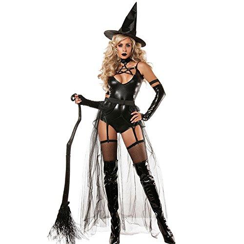 Machen Besen Kostüm - LLY Fashion Club Zeigen sexy Hexenkostüm Halloween Kostüm Spiele vierteilige Anzug