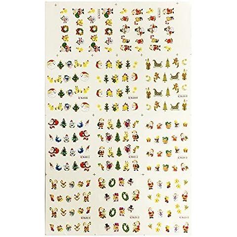 AllyDrew Fingernail Tattoo Christmas Nail Art Water Christmas Nail Tattoos Christmas Water Transfer Slide Tattoos Nail Decals, Christmas Nails 2 (11 Designs/220 Nail Tattoos) by AllyDrew - Water Slide Transfer