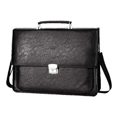 Männer Upmarket Rändel Business Casual Große Kapazitäts-einzelner Schulterbeutel Handtasche Khaki Black