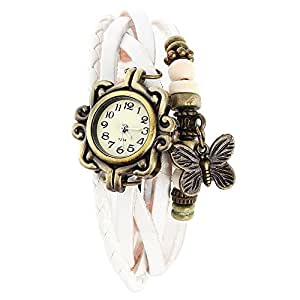 Leather Bracelet - Watch For Girls with Butterfly charm White
