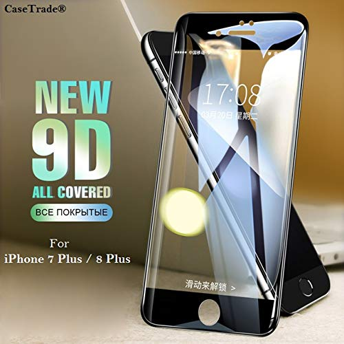 CaseTrade New 9D Anti Scratch Curved 9H Full Screen Tempered Glass Screen Protector for Apple iPhone 7 Plus/iPhone 8 Plus (Black)