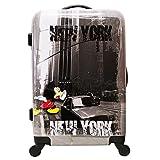 Medium Koffer Größe 66 cm - MICKEY - bruchsicher und leicht - 4 Räder - grau bedruckt NY