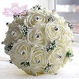 Ei&iLI Hochwertige Creme weiß und elegante handgemachte dekorative künstliche Kristall Perlen Blume Braut Hochzeit Bouquets , milk white