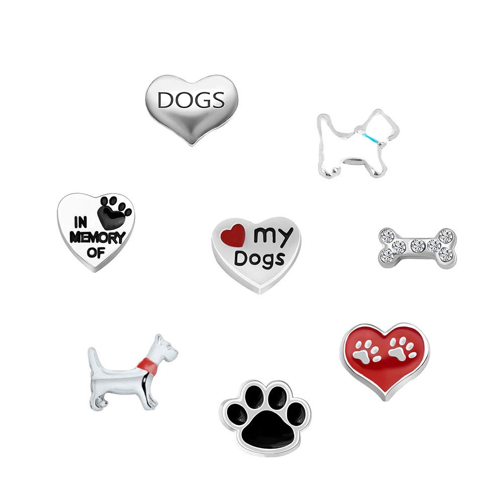 Korliya Dog Paw Bone Heart Floating Charms For Memory Lockets Necklace & Bracelets