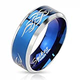 Herrenring Edelstahl Ring Herren Tribal Biker Bandring Gothic schwarz blau gold Autiga® blau 70 - Ø 22,20 mm