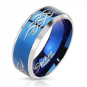 Autiga Herrenring Edelstahl Ring Herren Tribal Biker Bandring Gothic schwarz blau Gold