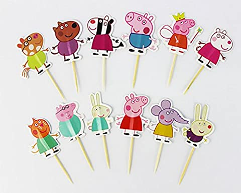 Peppa Pig Cupcake Picks Set Of 8 Toppers Party Decorations Kit Birthday Cakes